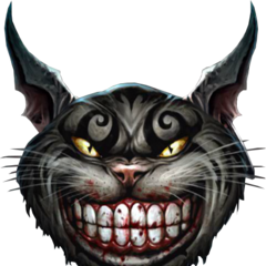 The Cheshire Cat from the storybook.