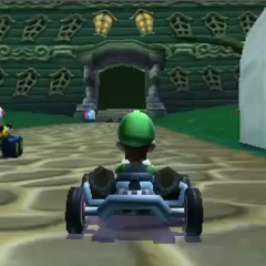 Luigi and Toad driving on DS Luigi's Mansion.
