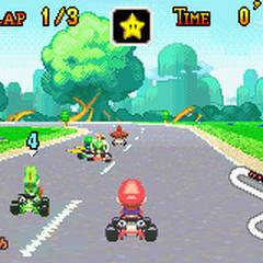 Mario near a turn.