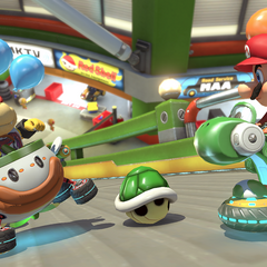 Bowser Jr. battling Mario in <i>Mario Kart 8 Deluxe</i>.