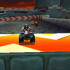 Metal Mario driving on DS Airship Fortress.