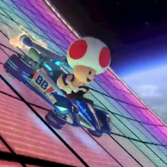 Toad, driving on an anti-gravity section.