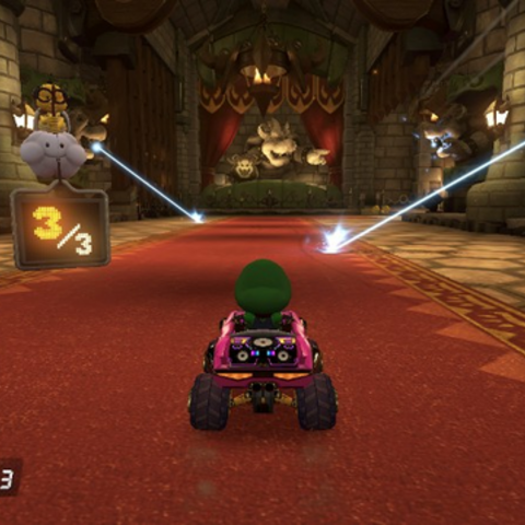 Lasers from the Gray Bowser Statues, which start firing lasers when players usually enter the second lap.