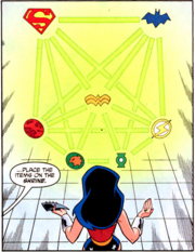 Wonder Woman stands in front of glowing icons