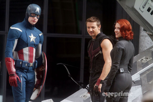 File:Captain America with Hawkeye and Black Widow Behind the Scenes.jpg