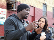 Mike and Rosario Luke Cage BTS 6