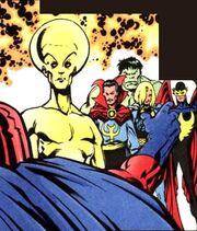 Alpha, Bruce Banner, Brunnhilde, Defenders, Kyle Richmond, Max Eisenhardt, Stephen Strange (Earth-616) from X-Men Unlimited 24