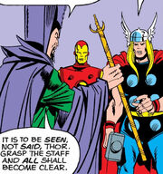 Immortus presents the Avengers a synchro-staff in Avengers Vol 1 133