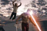 Wade Wilson and James Howlett (Earth-10005) from X-Men Origins Wolverine 0001