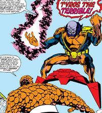 Benjamin Grimm, Tyros, Tyros's Sky-Sled, Tyros's Techno-Suit (Earth-616) from Fantastic Four Vol 1 259
