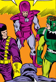 Frightful Four (Earth-616) welcome the Brute into their ranks from Fantastic Four Vol 1 177