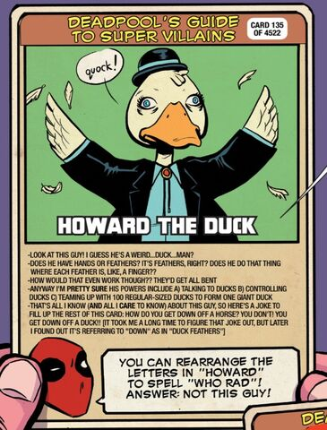 File:Howard the Duck (Earth-791021) on Deadpool's Guide to Super Villains Cards from Unbeatable Squirrel Girl Vol 2 6.jpg
