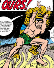 Benjamin Grimm (Earth-616) and Namor McKenzie (Earth-616) from Fantastic Four Vol 1 9 0001