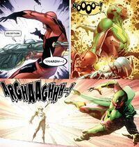 Ultron (Earth-616) and Henry Pym (Earth-616) merging from Avengers Rage of Ultron Vol 1 1.jpg