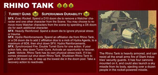 Marvel Heroic Roleplaying - Item Datafile Rhino Tank