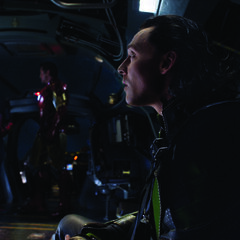 Steve and Tony escorting Loki back to S.H.I.E.L.D. aboard the Quinjet.