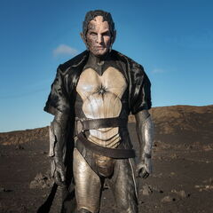 Christopher Eccleston in full costume during filming.