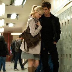 Peter and Gwen in the school's locker room.