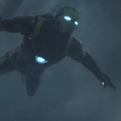 Tony Stark deploying from the helicopter.