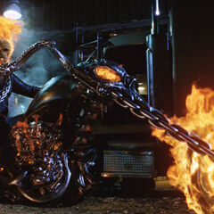 The Ghost Rider on his motorcycle.