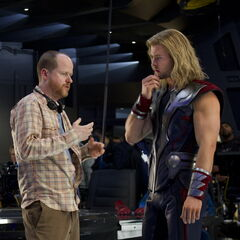 Joss Whedon and  Chris Hemsworth.