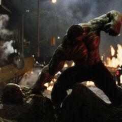 Hulk stomps Abomination.