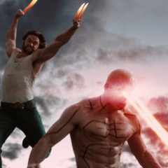 Wolverine making his lunge to decapitate <b>Weapon XI</b>.