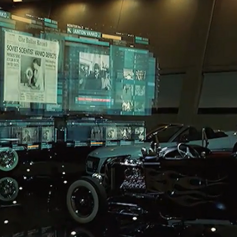J.A.R.V.I.S. showing Tony Stark newspaper images and webpages about Anton Vanko.