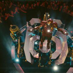 Iron Man preparing to de-armor.