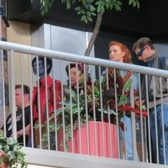 Set photo showing Cyclops, Jean Grey, Nightcrawler, and Jubilee