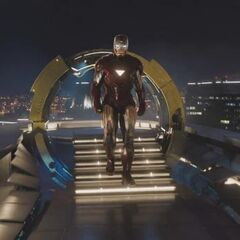 Iron Man on the roof of Stark Tower.