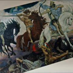 Painting of the Biblical Horsemen, inspired by Apocalypse's ones.