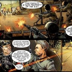 Johann Schmidt and his soldiers attack the SA weapon facility.