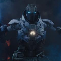Ivan Vanko uses Whiplash Mark 2 to fight Iron Man and War Machine.