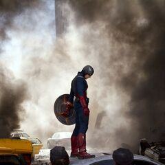 Captain America on the roof of a car.