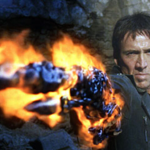 Johnny Blaze using hellfire manipulation to transform a gun.
