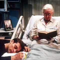 Peter asleep at Aunt May's bedside in the Hospital.