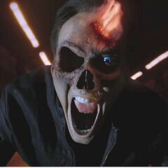 Johnny transforming into Ghost Rider.