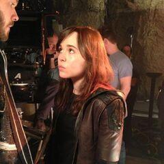 Ellen Page on set.