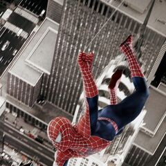 Spider-Man Webslinging above New York City skylines.