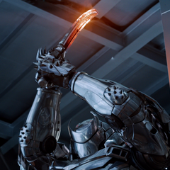 The Silver Samurai using his power, channelling energy through his sword.