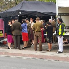 Extras on set for 1940s sequence in the UK