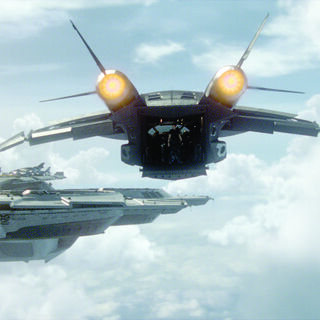 The Quinjet arriving at the Helicarrier.