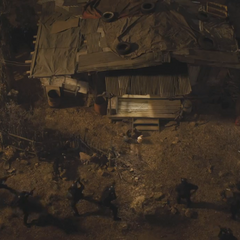 SHIELD agents surround the shack that Banner has been lured to.