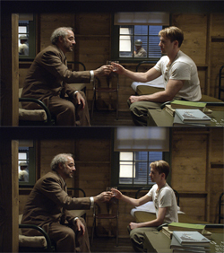 File:Chris Evans as pre-serum Steve Rogers before (top) and after (bottom) he was visually reduced..jpg