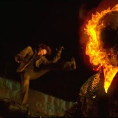 Carrigan being thrown by Ghost Rider