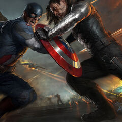 Concept art of Captain America battling The Winter Solider.