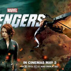 Hawkeye and Black Widow banner.