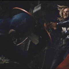Thor attacking Captain America.