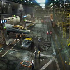 Concept art for the Helicarrier's inside.